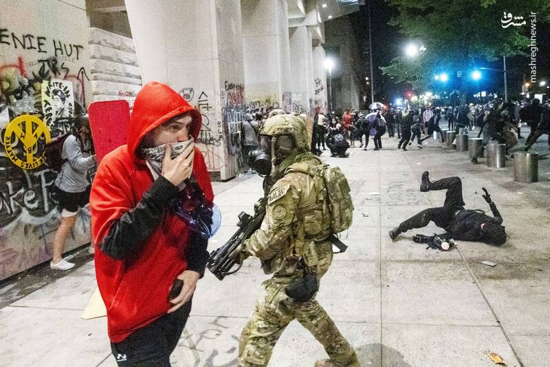 جنگ خیابانی در پورتلند امریکا