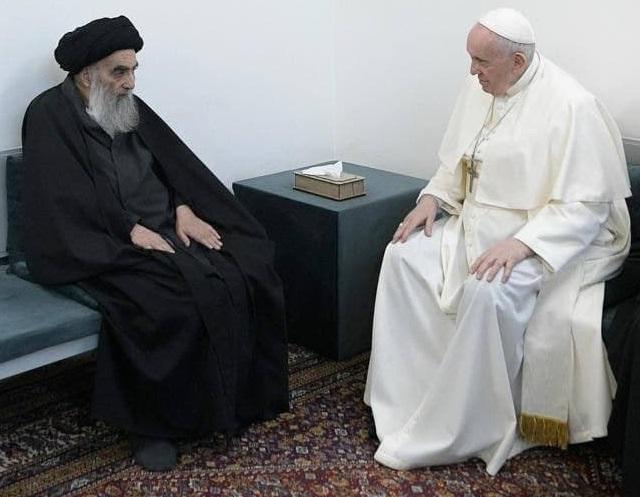 عراق| دیدار تاریخی آیتالله سیستانی و پاپ در نجف اشرف + عکس